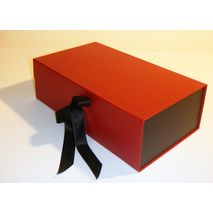Red and black box with ribbon