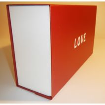 Red white hamper with white Love printed on lid