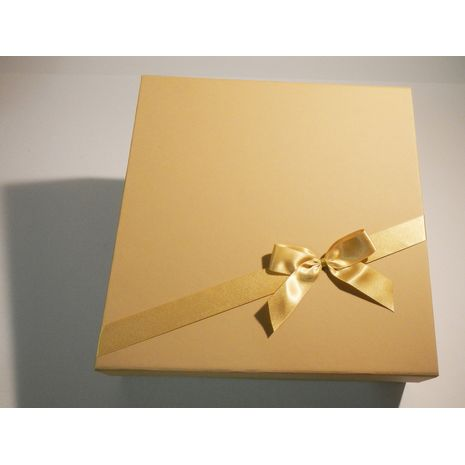 Cream Square Hamper with Gold Bow and Ribbon