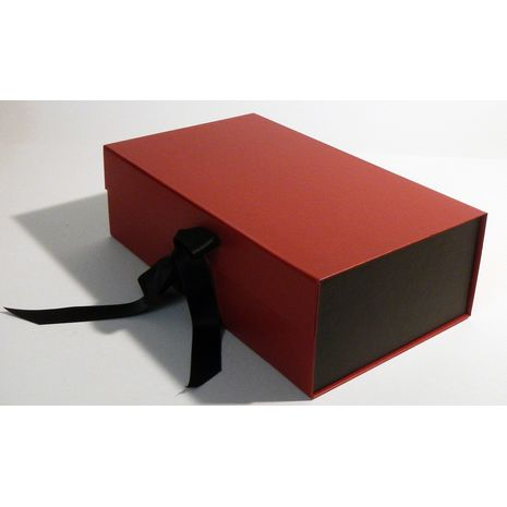 Black and red gift box with ribbon