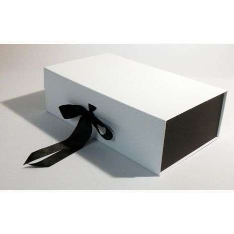 White and Black Hamper box with ribbon